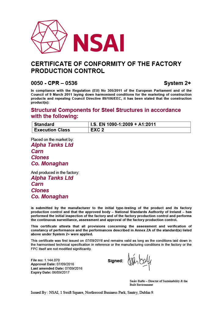 Alpha Tanks Certified To Ce Mark Fabricated Steel Structures With